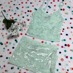 F21 Matching 2 Pc Set Mint Velvet Top with Skirt